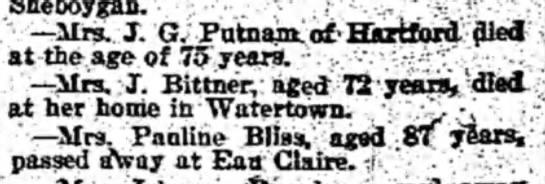 Mr. J Bittner died 1895 -