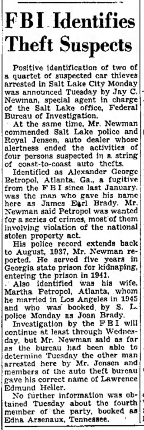 arrest for car theft 1946 -