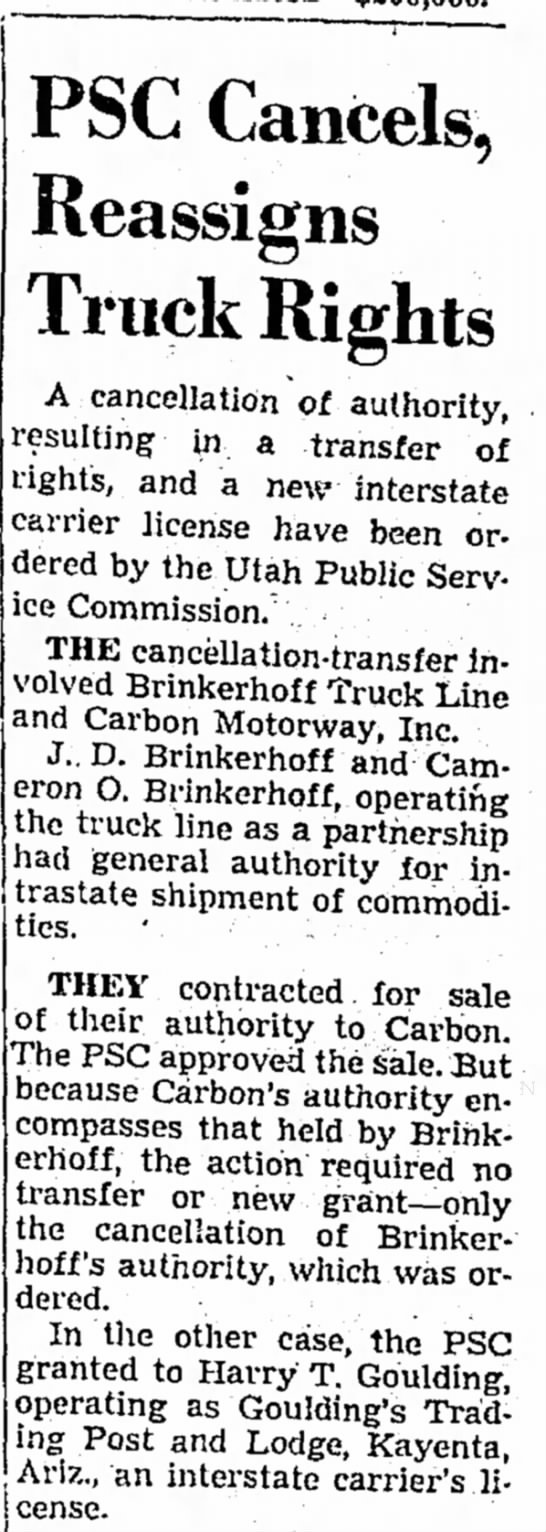 14 Aug 1960 PSC Cancels Reassigns Truck Rights, J.D. & Cameron Brinkerhoff -