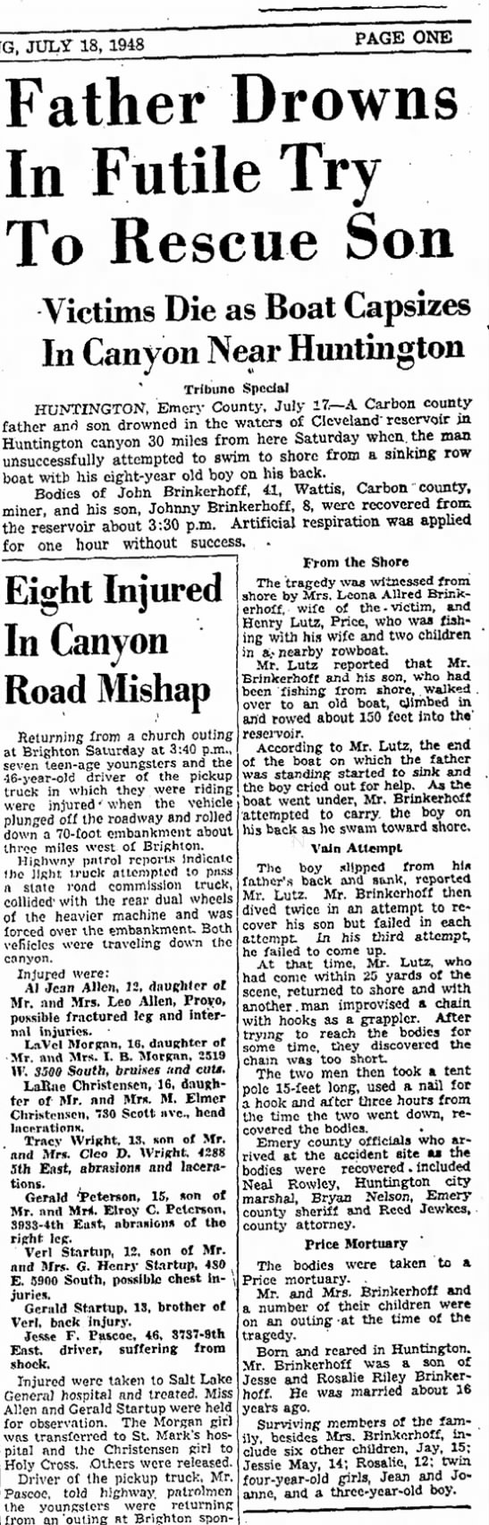 18 Jul 1948 Father Drowns in Futile Try to Rescue Son, -