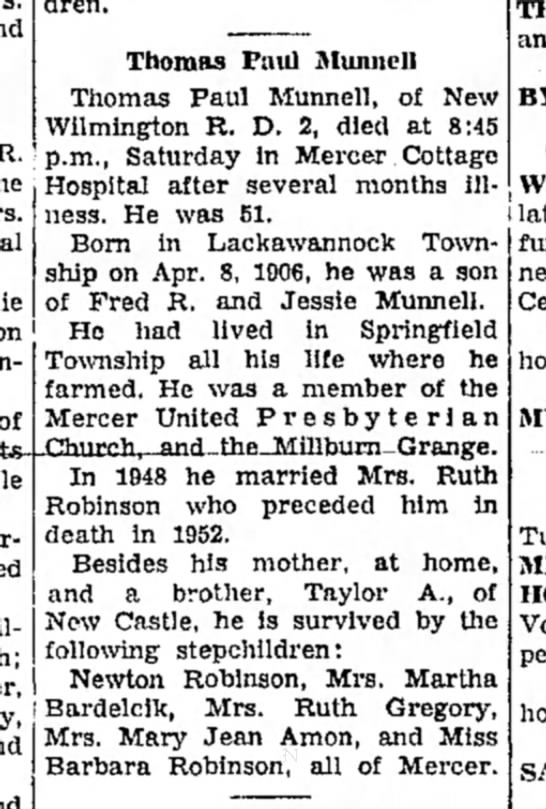 Thomas Paul Munnell Oct 14, 1957 Obit -