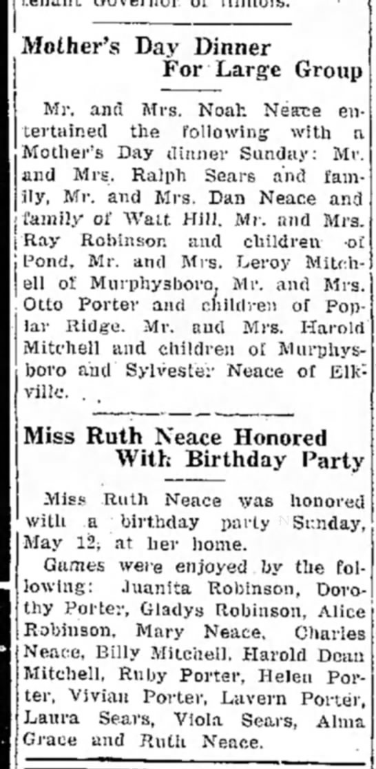 16 may 1940 - Mother's Day Dinner For Large Group Mr. and...