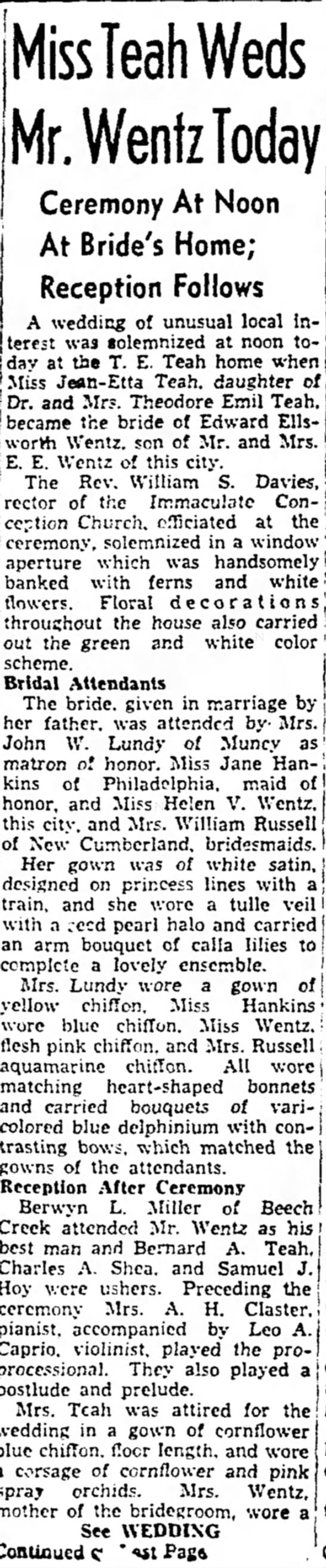 Wentz - Teah Wedding June 1938 -