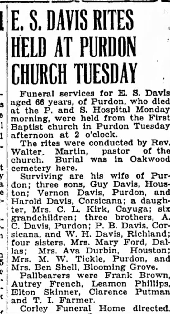 E. S. Davis obit - E. S. DAVIS RITES , HELD AT PURDON CHURCH...