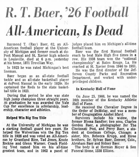 R. T. Baer, '26 Football All-American, Is Dead -