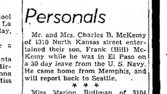 Frank (Bill) McKemy USN-- son of Charles McKemy -