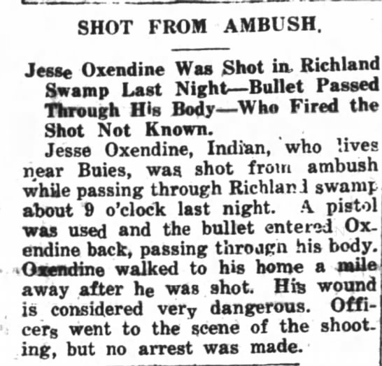 jesse oxendine shot in richland may 31 1920 -