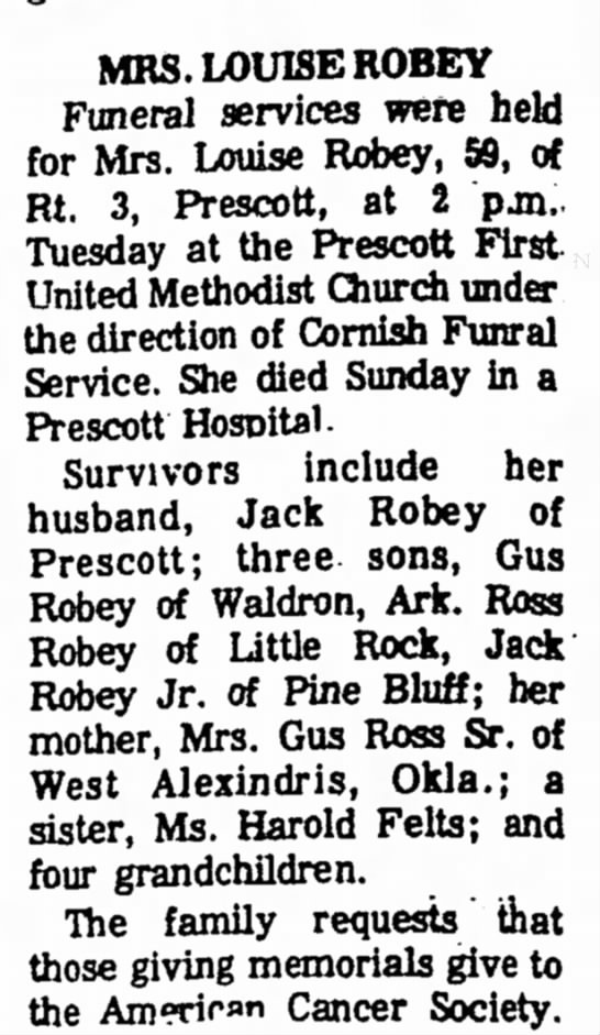 Louise Robey Obituary 11.04.1974 - MRS. LOUISE ROBEY Funeral services were held...