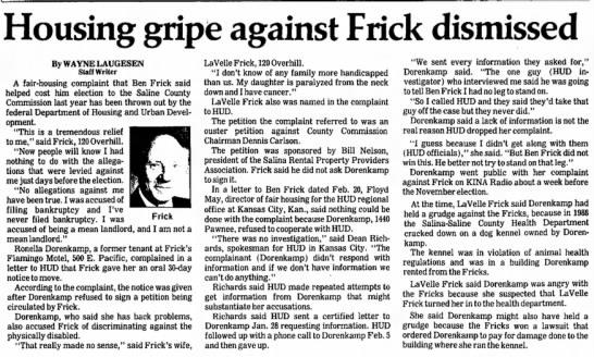 Frick - Housing gripe against Frick dismissed By WAYNE...