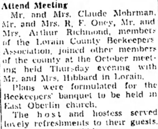 Beekeepers - R F Oney - Meeting , - and Mrs. Claude Mohrman ' and Mrs....