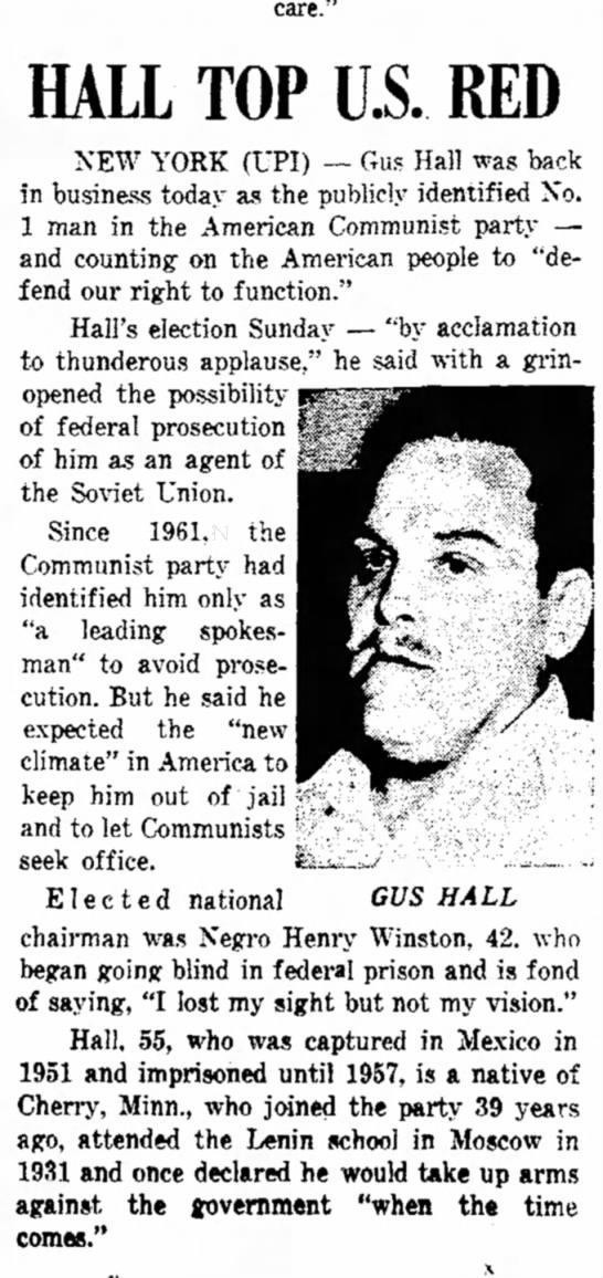 "June 1966, Hall - care."" HALL TOP U.S. RED NEW YORK (UPI) — Gus..."