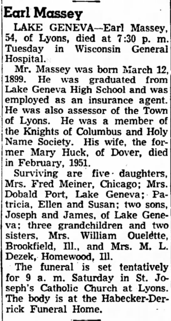 Earl Massey Obit -spouse of Mary Huck of Dover, Janesville Daily Gazette 15 April 1953 -