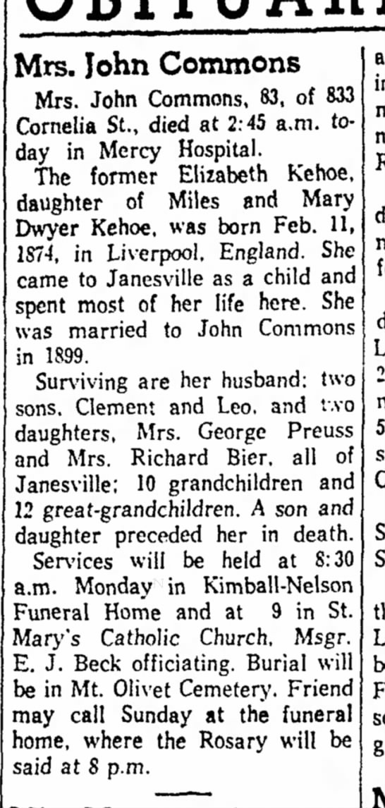 Elizabeth Kehoe Commons obit