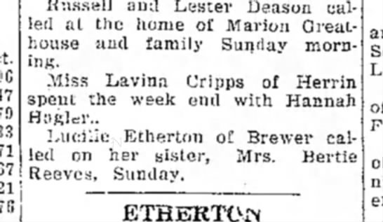Lavina Cripps 4 May 27 Daily Independent Murphy page 6 - Russell ami Lester Deason called at the home of...