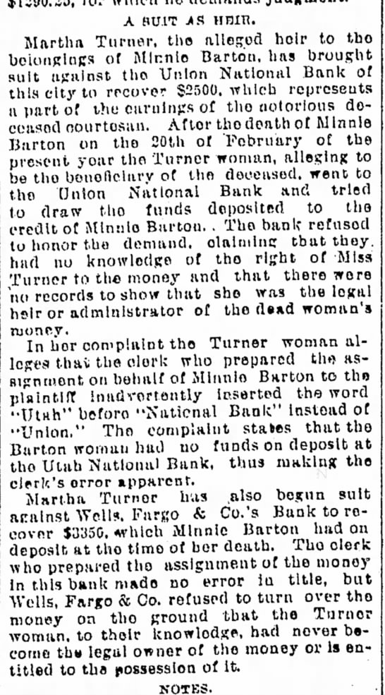 Minnie Barton death and Martha Turner suit. 18 march 1892 -