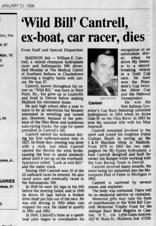 CANTRELL, William E. - 1996-01-25 Obituary -