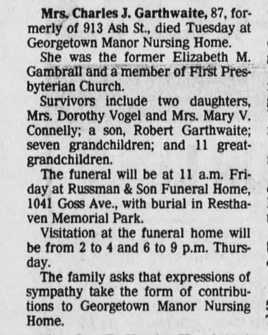 1983 Obituary for Elizabeth Mae Gambrall Garthwaite -