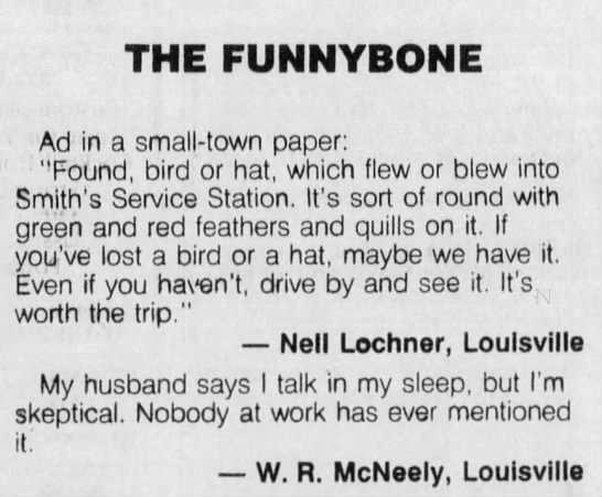"""""""My husband says I talk in my sleep, but nobody at work has ever mentioned it"""" (1993). -"""