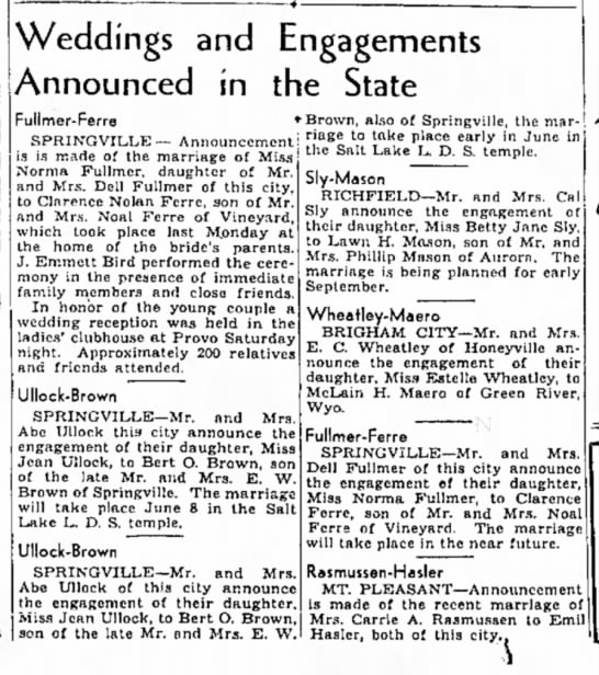 14 May 1939 - Weddings and Engagements Announced in the State...