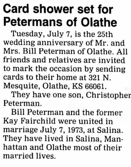 William Paul Peterman's 25th Anniversary -