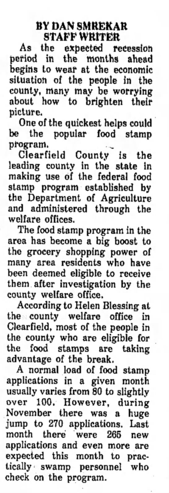 Helen Blessing-@work-The Courier Express-Dubois PA-p.11-16 Jan 1975 -