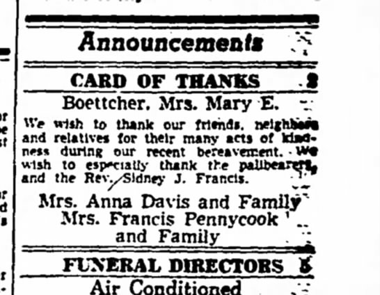 1 Aug 1951Mary E. Boettcher -