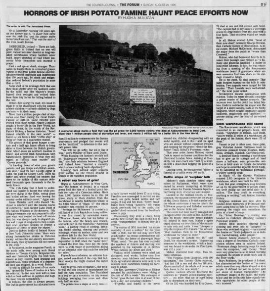Summary of Irish Potato Famine and how it still affects modern Ireland -