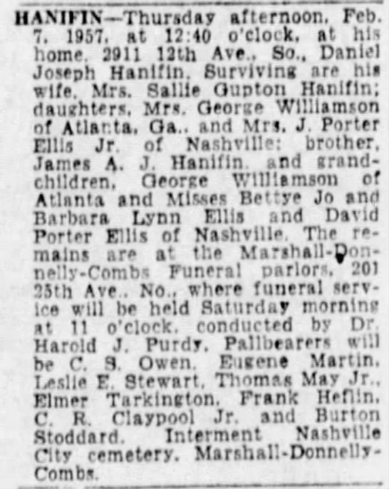 Daniel J Hanifin Obit-The Tennessean 2-8-1957 -