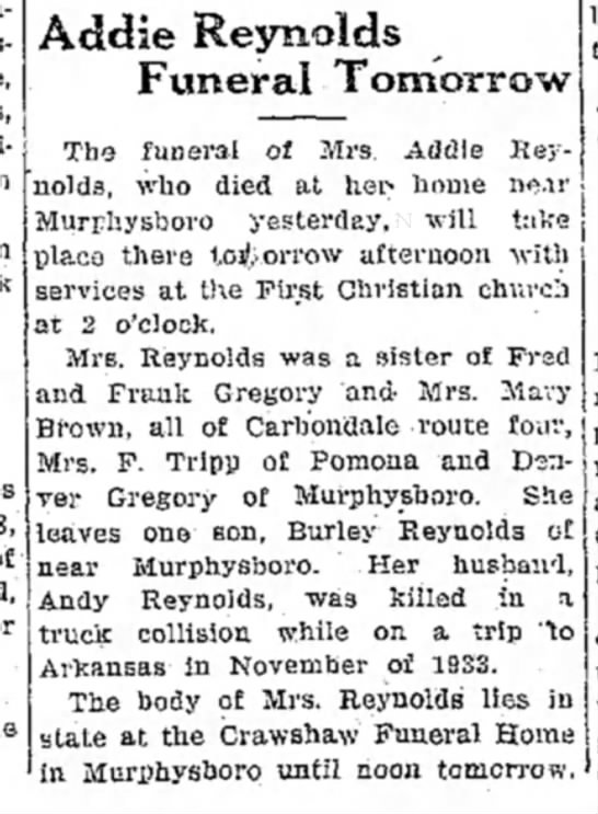 My G G Aunt Addie Gregory Reynolds death announcement -