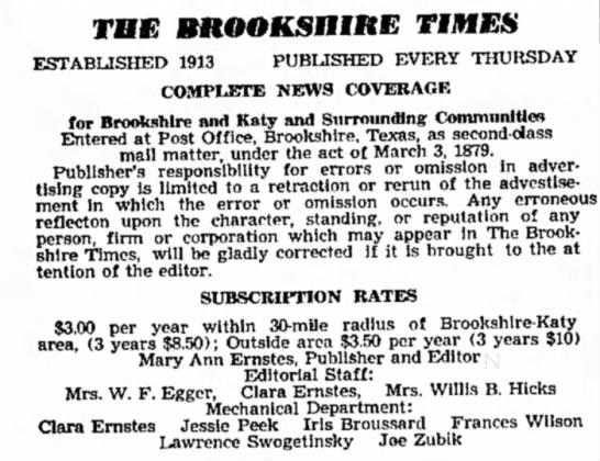 Joe Zubik -- The Brookshire Times staff -