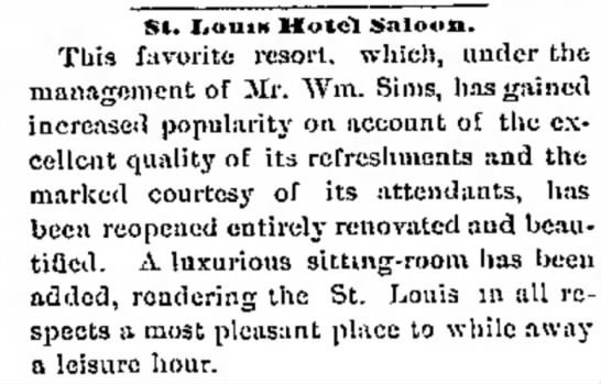 St Louis Hotel Saloon - Helena Montana (1 April 1876) -