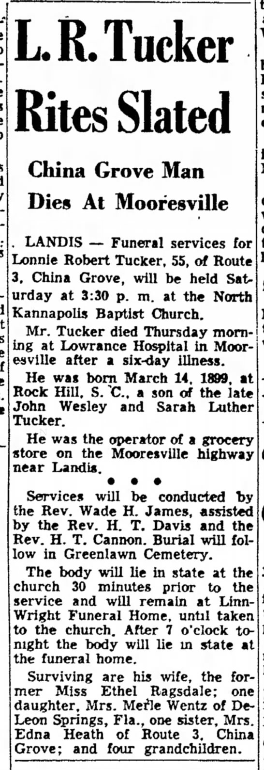 Lon Tucker Obituary -