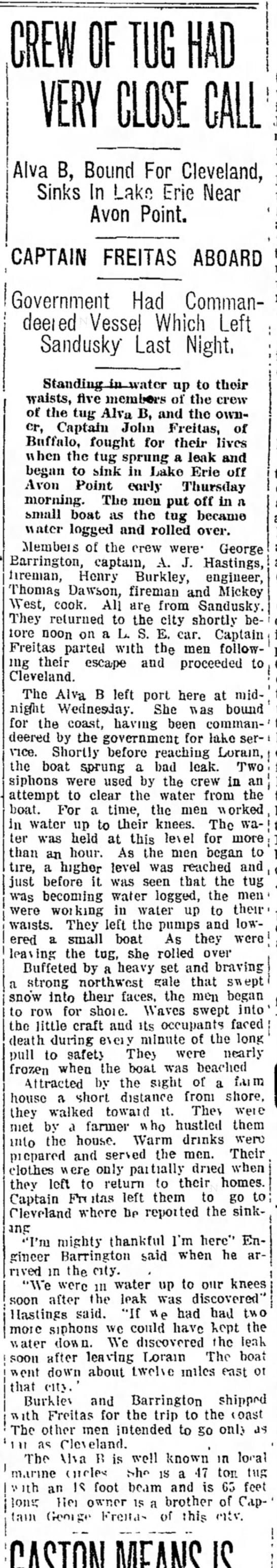 The Sandusky Star-Journal (Sandusky, Ohio), 1 November 1917, Page 1  - Alva B, Bound For Cleveland, Sinks In Lakn Erie...