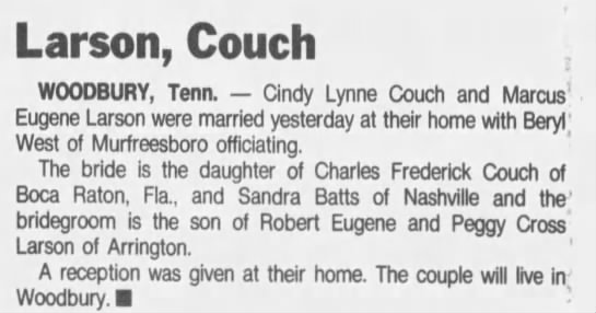 Cindy Couch marries Marc Larson, Tennessean, 28 May 1995, page 64, Sun -