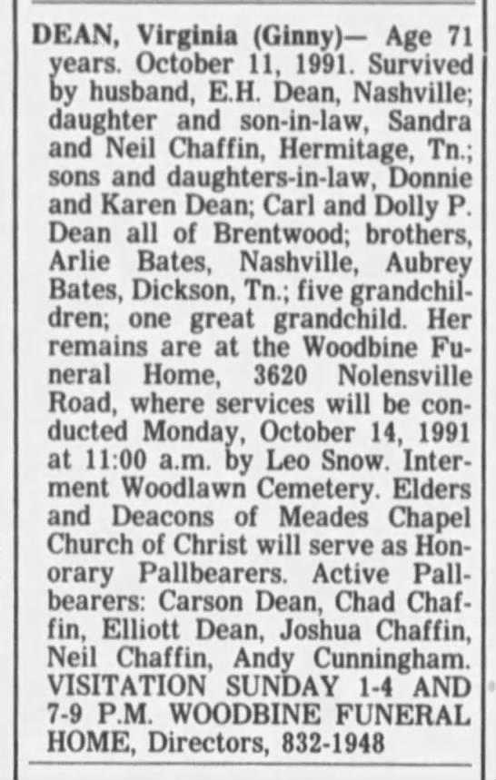 Virginia Bates Dean Obituary -