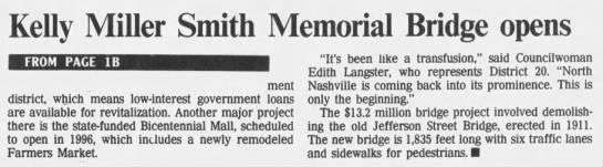 Kelly Miller Smith Memorial Bridge opens -