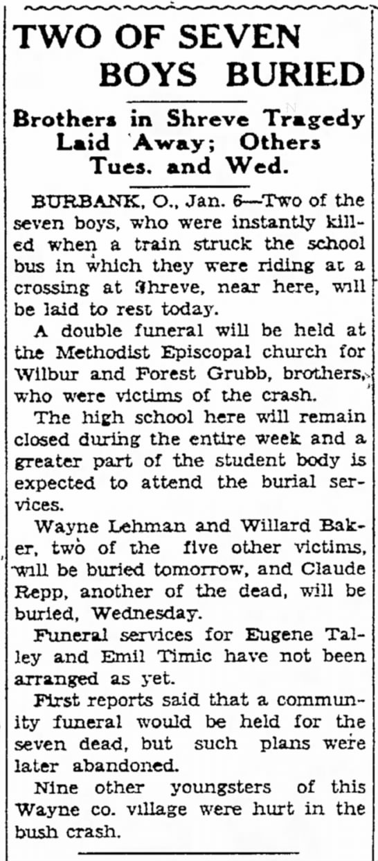 Willard Baker, bus-train accident - in Take the TWO OF SEVEN BOYS BURIED Brothers...
