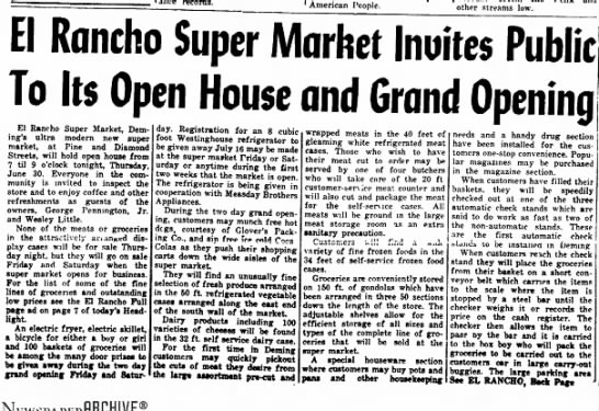 El Ranch Super Market Opening Article July 1955 -