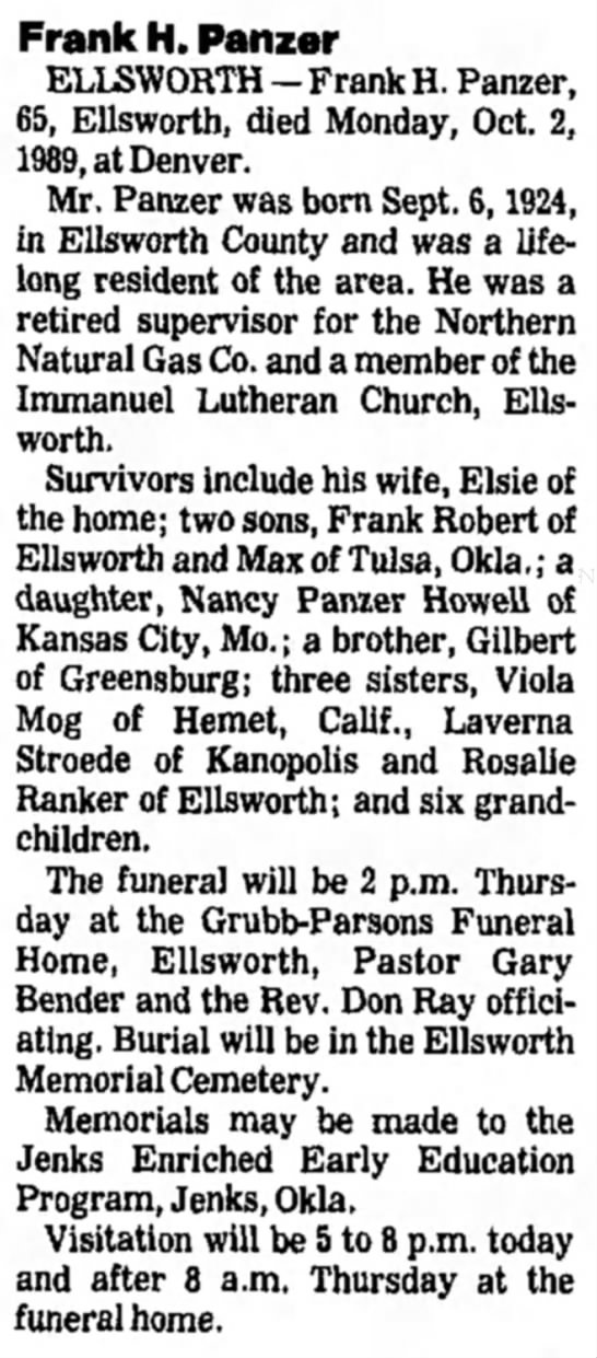 Frank Henry Panzer Jr Obituary -