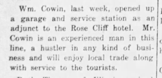 Current Local Aug 9 1928 Cowin Opens Garage Rose Cliff -
