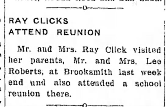 ray click Oct 20 1955 - -o- RAY CLICKS ATTEND REUNION Mr. and Mrs. Ray...