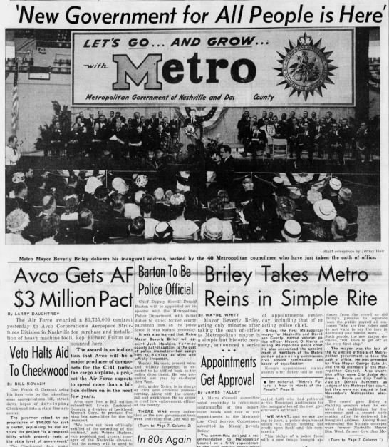 Briley first Metro mayor -