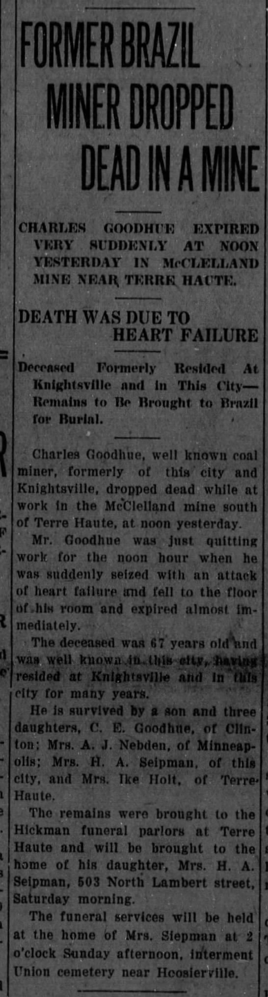 GOODHUE Charles W newspaper article covering his death 01 -