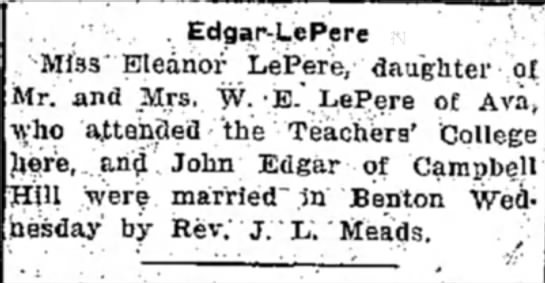 My Edgar Grandparents wedding announcement -