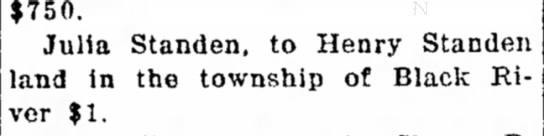 Standen, Julia sale of Black River land 1906 -