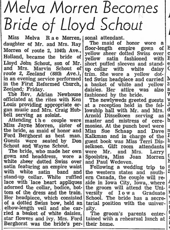 Spoolstra, Larry 19700818; The Holland Evening Sentinel, Holland, MI - of the of at Lot Melva Morren 'Becomes 'Bride...
