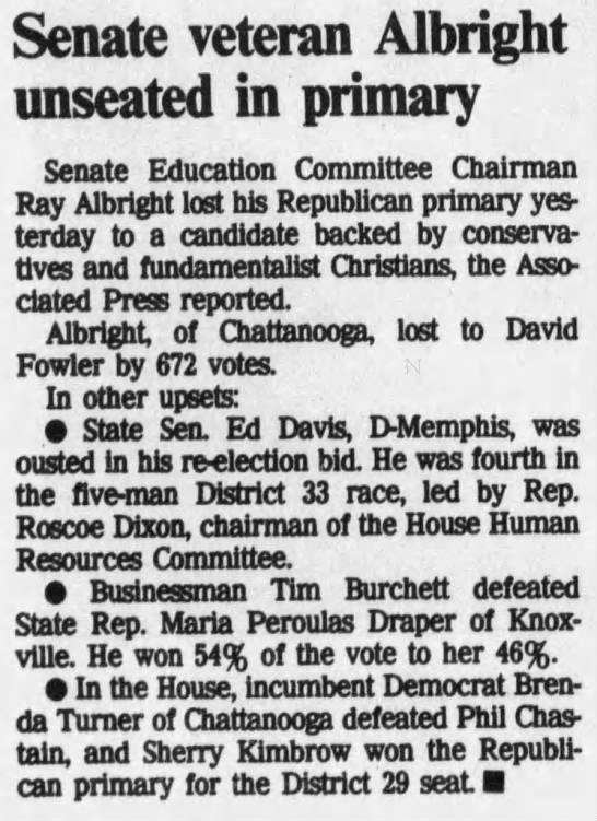 Senate veteran Albright unseated in primary -