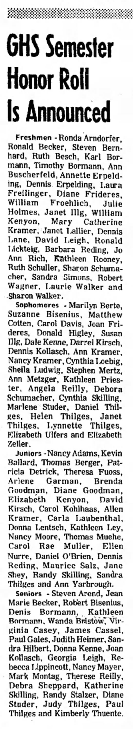 GHS honor roll 1974 -