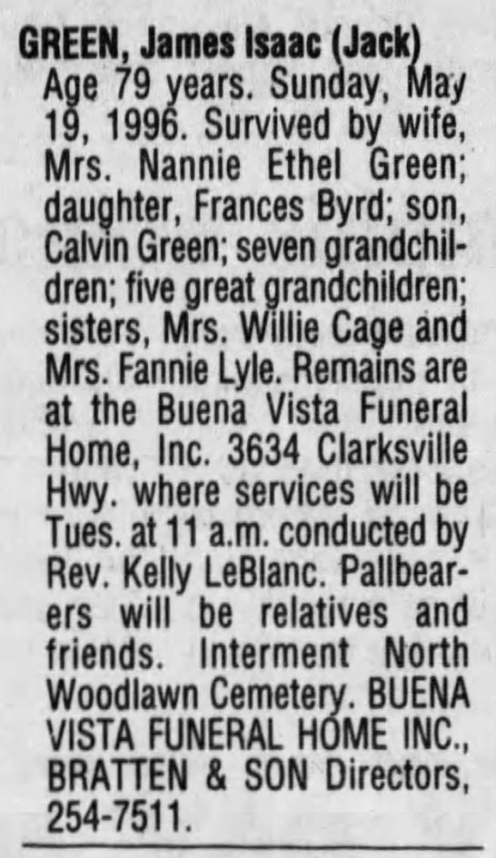 """James Isaac """"Jack"""" Green obituary -"""