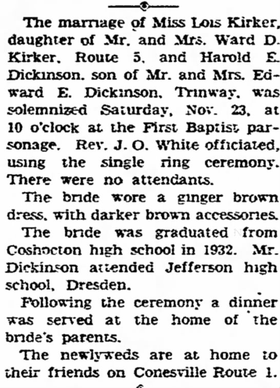 Lois-Harold Dickinson marriage -